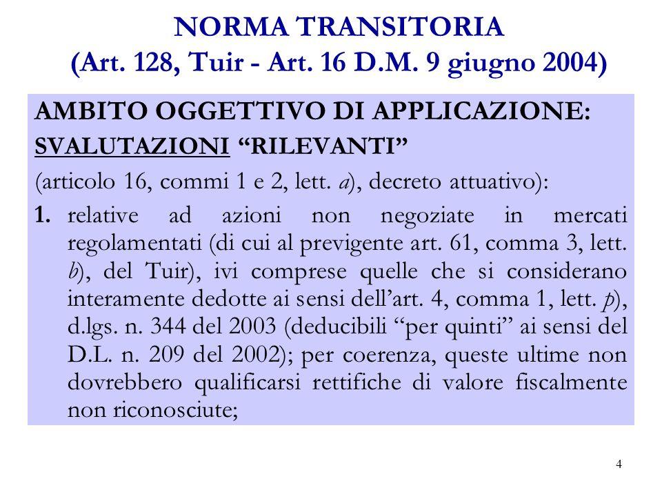 15 NORMA TRANSITORIA (Art.128,Tuir - Art. 16 D.M.