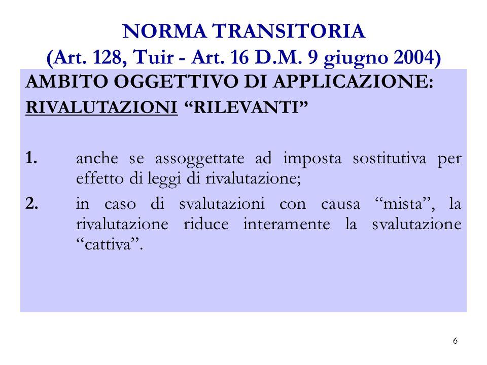 6 NORMA TRANSITORIA (Art.128, Tuir - Art. 16 D.M.