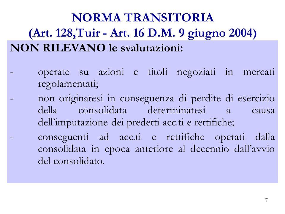 7 NORMA TRANSITORIA (Art.128,Tuir - Art. 16 D.M.