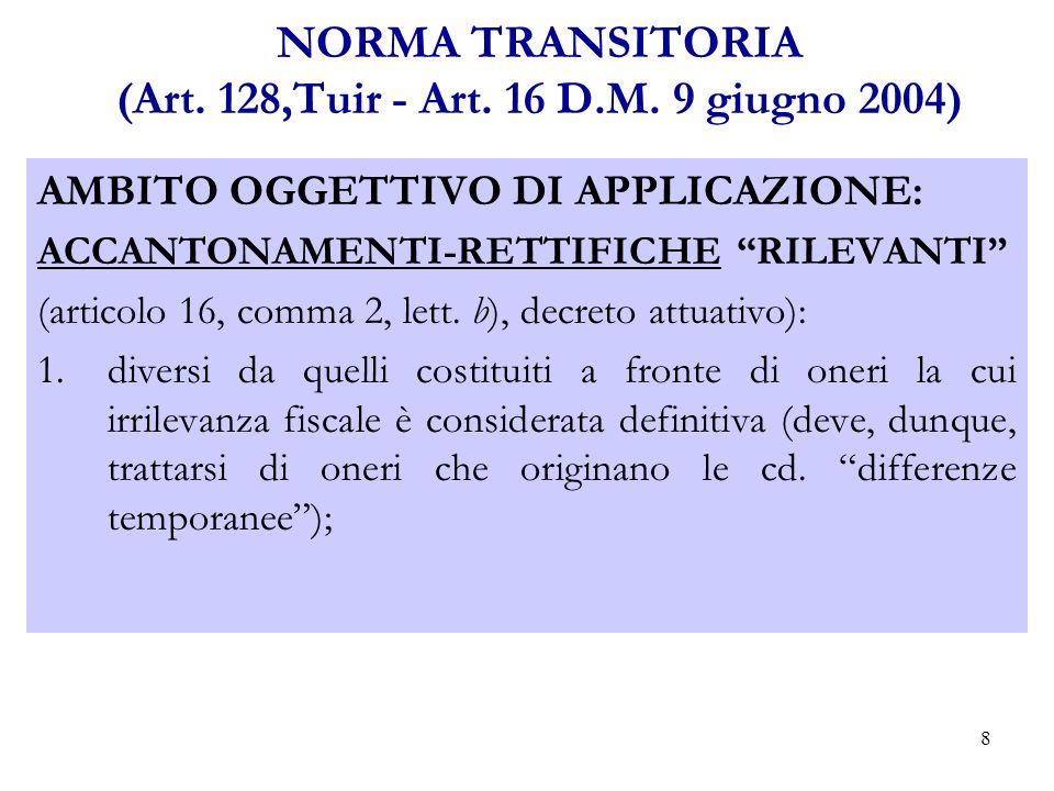 8 NORMA TRANSITORIA (Art.128,Tuir - Art. 16 D.M.
