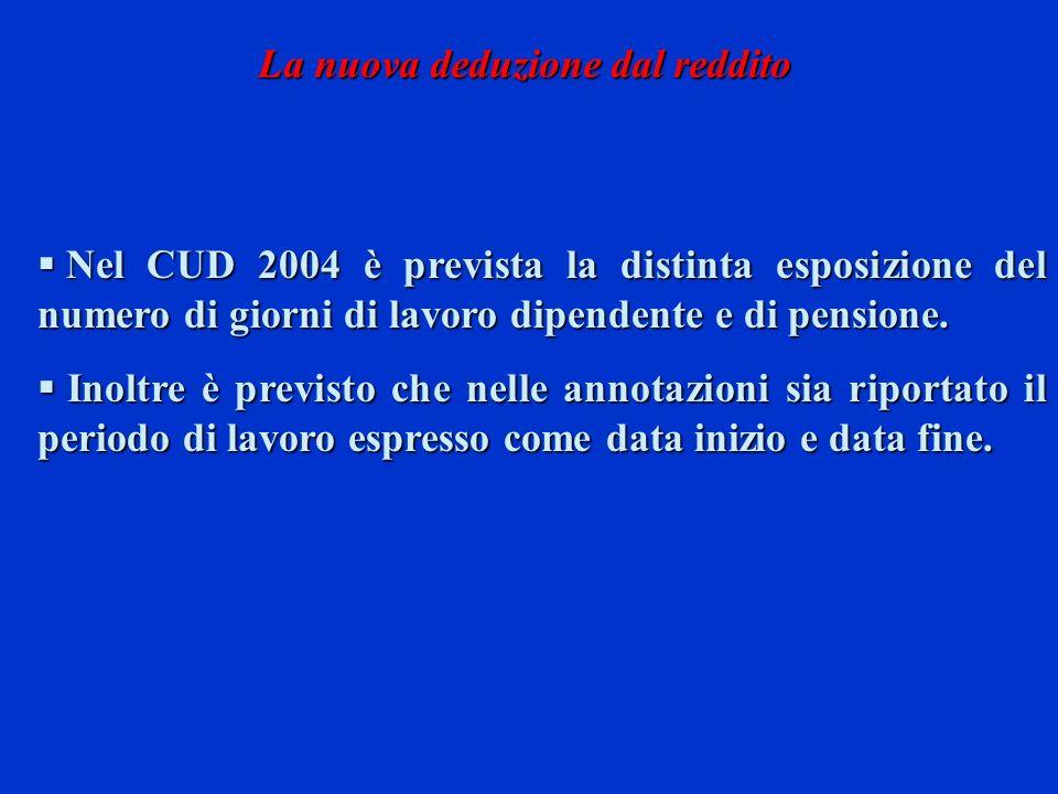 Nel CUD 2004 è prevista la distinta esposizione del numero di giorni di lavoro dipendente e di pensione. Nel CUD 2004 è prevista la distinta esposizio