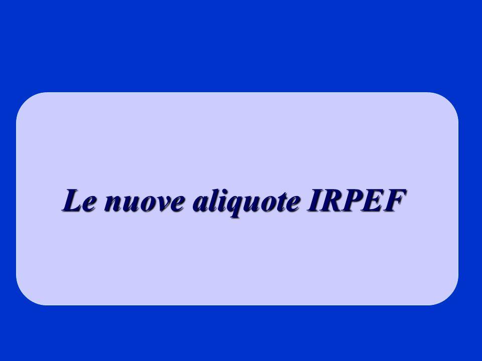 Le nuove aliquote IRPEF