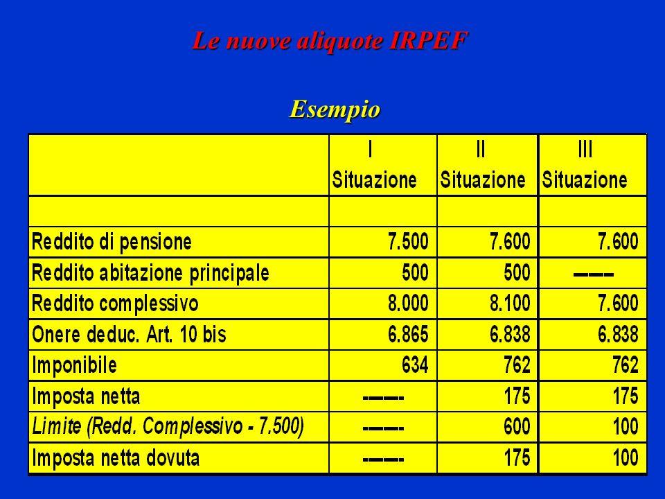 Le nuove aliquote IRPEF Esempio