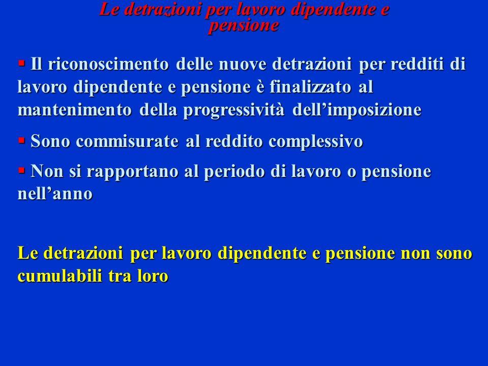 Il riconoscimento delle nuove detrazioni per redditi di lavoro dipendente e pensione è finalizzato al mantenimento della progressività dellimposizione