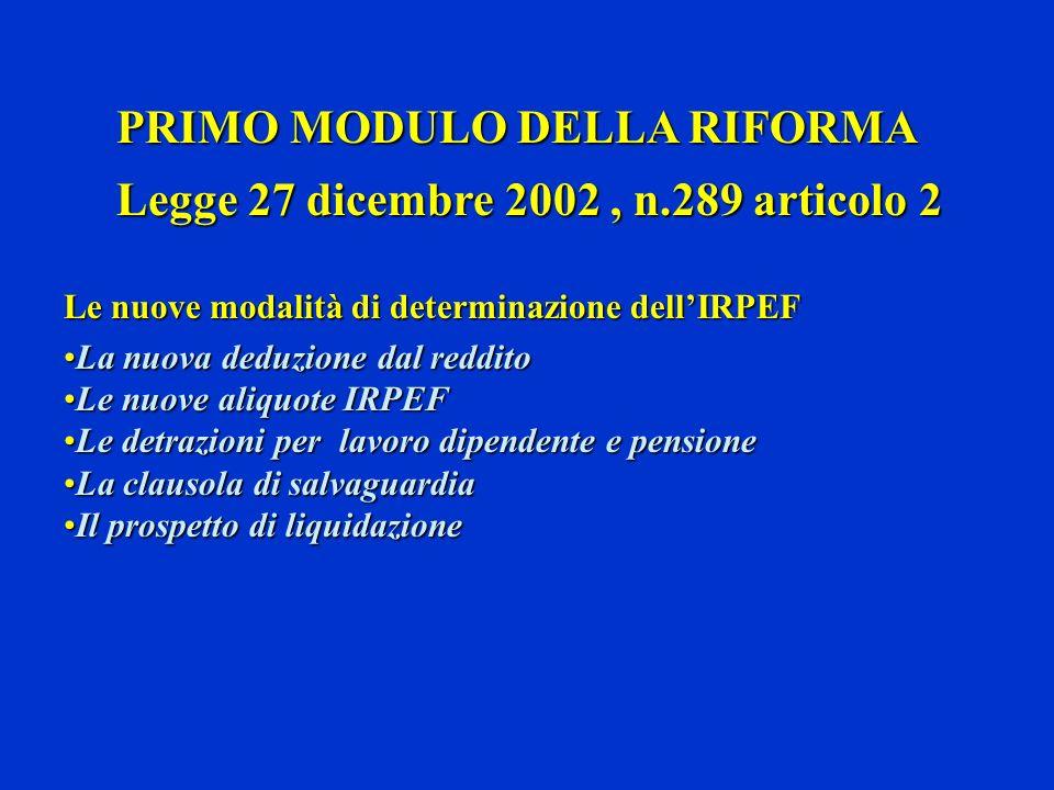 PRIMO MODULO DELLA RIFORMA PRIMO MODULO DELLA RIFORMA Legge 27 dicembre 2002, n.289 articolo 2 Legge 27 dicembre 2002, n.289 articolo 2 Le nuove modal