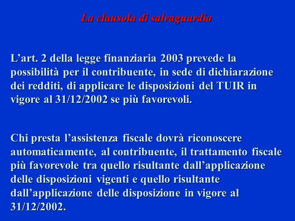 Lart. 2 della legge finanziaria 2003 prevede la possibilità per il contribuente, in sede di dichiarazione dei redditi, di applicare le disposizioni de