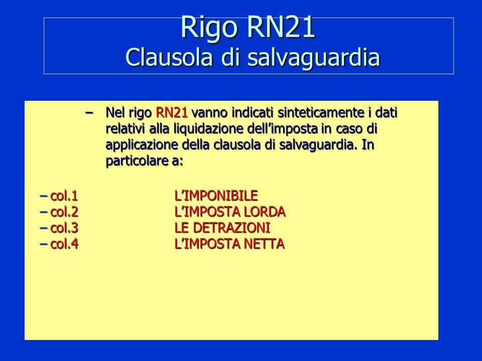 Rigo RN21 Clausola di salvaguardia –Nel rigo RN21 vanno indicati sinteticamente i dati relativi alla liquidazione dellimposta in caso di applicazione