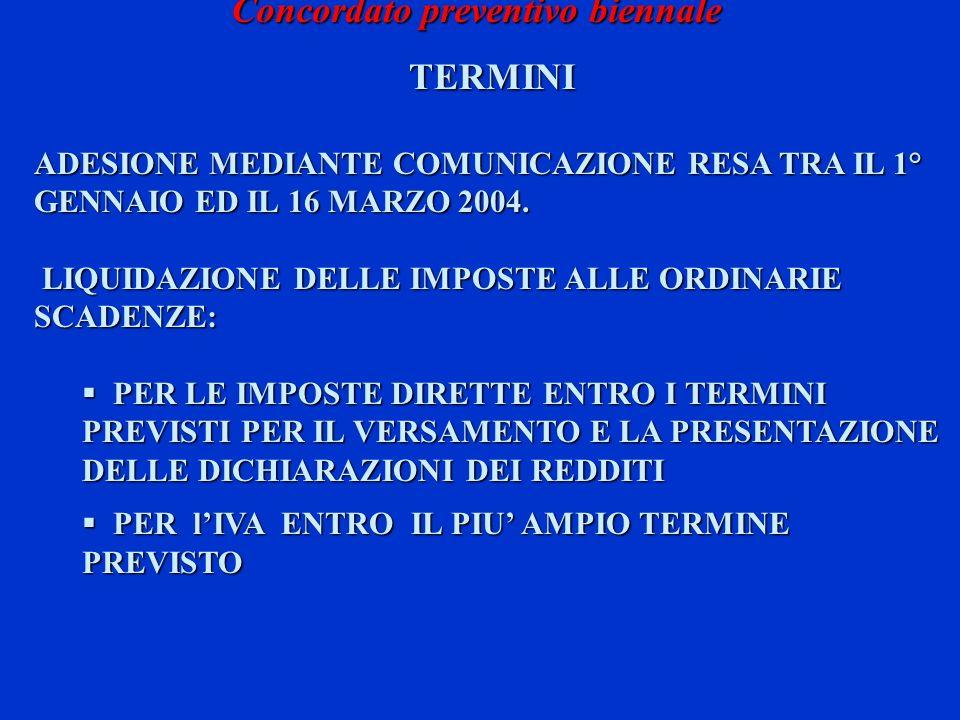 Concordato preventivo biennale TERMINI ADESIONE MEDIANTE COMUNICAZIONE RESA TRA IL 1° GENNAIO ED IL 16 MARZO 2004. LIQUIDAZIONE DELLE IMPOSTE ALLE ORD