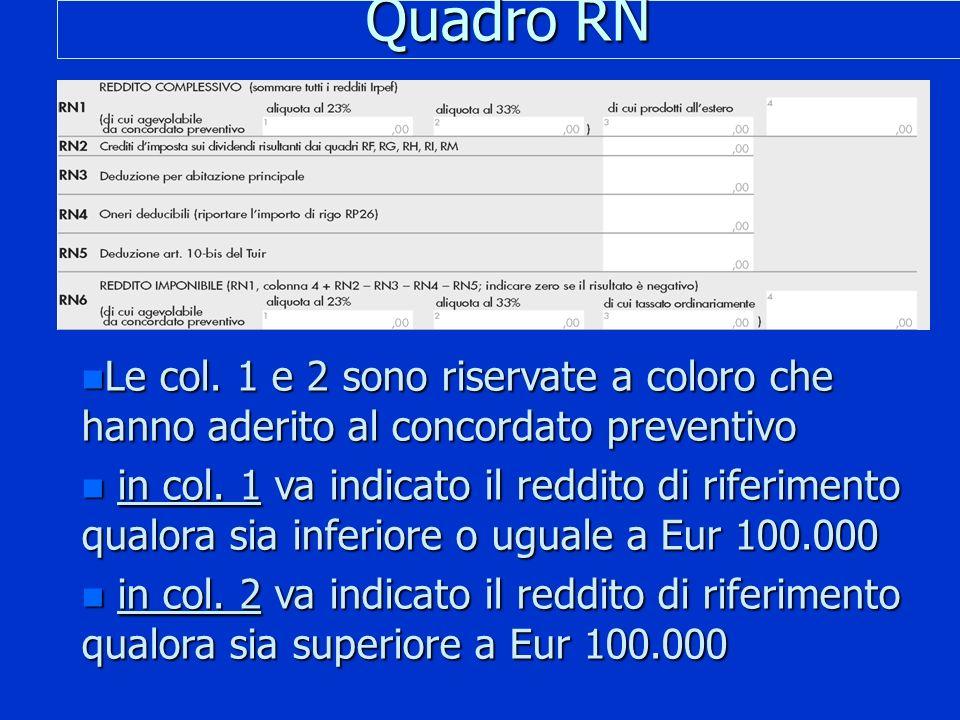 Quadro RN n Le col. 1 e 2 sono riservate a coloro che hanno aderito al concordato preventivo n in col. 1 va indicato il reddito di riferimento qualora