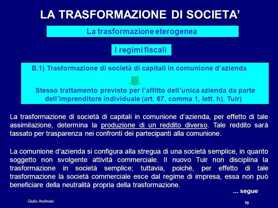 Giulio Andreani 10 LA TRASFORMAZIONE DI SOCIETA LA TRASFORMAZIONE DI SOCIETA La trasformazione eterogenea I regimi fiscali La trasformazione di società di capitali in comunione dazienda, per effetto di tale assimilazione, determina la produzione di un reddito diverso.