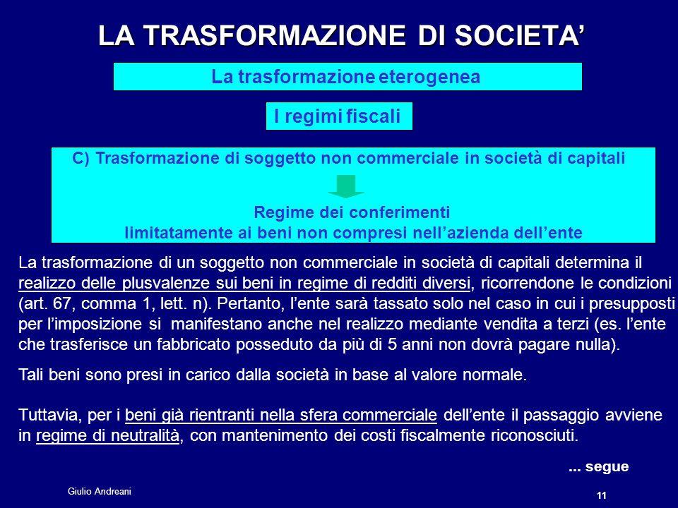 Giulio Andreani 11 LA TRASFORMAZIONE DI SOCIETA LA TRASFORMAZIONE DI SOCIETA La trasformazione eterogenea I regimi fiscali...