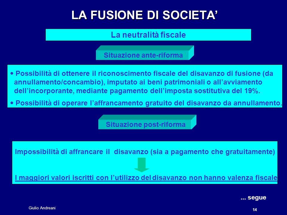 Giulio Andreani 14 LA FUSIONE DI SOCIETA LA FUSIONE DI SOCIETA La neutralità fiscale...