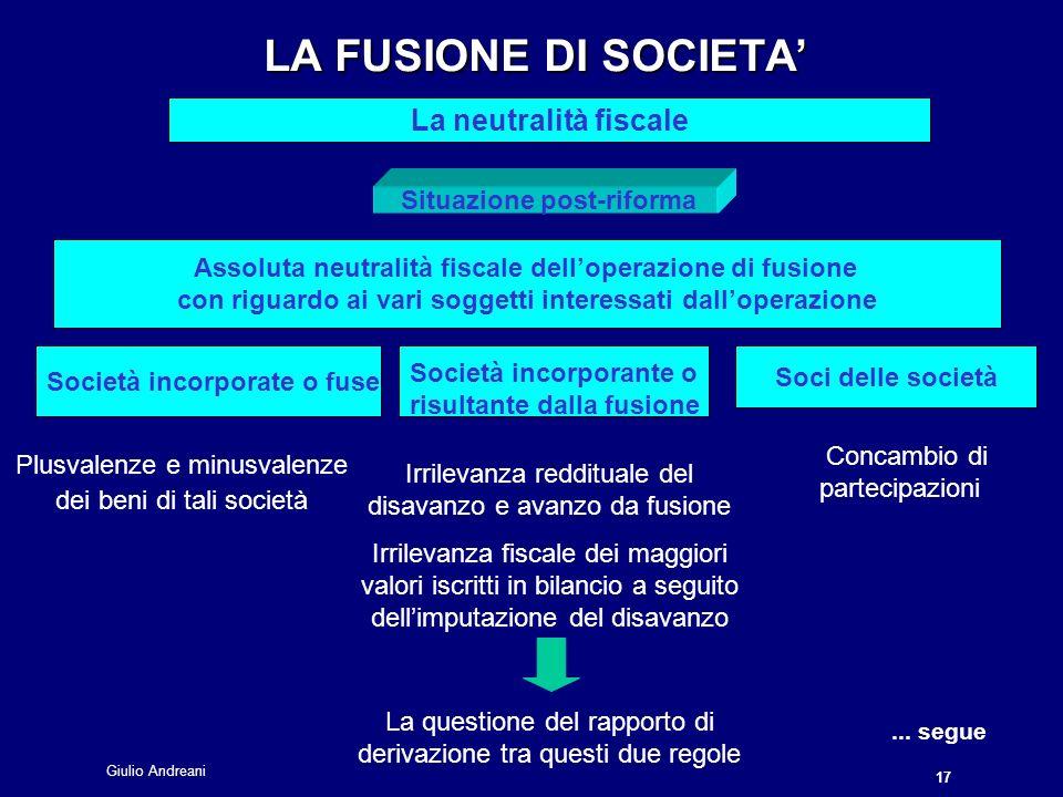 Giulio Andreani 17 LA FUSIONE DI SOCIETA LA FUSIONE DI SOCIETA La neutralità fiscale...