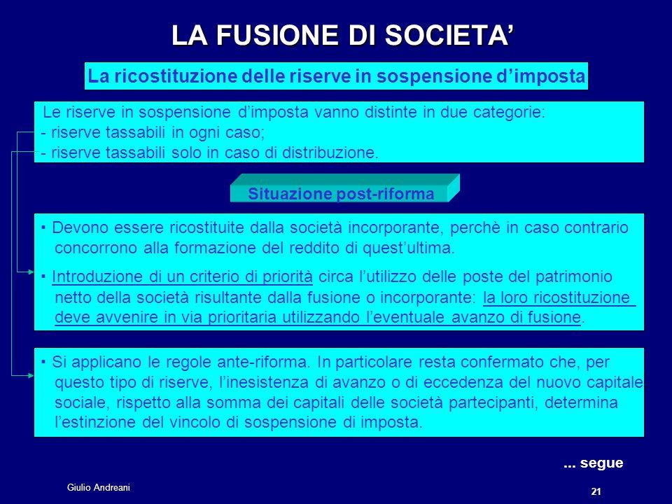 Giulio Andreani 21 LA FUSIONE DI SOCIETA La ricostituzione delle riserve in sospensione dimposta....
