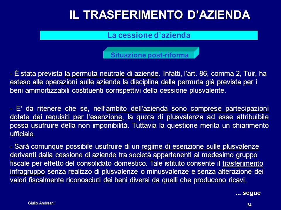 Giulio Andreani 34 IL TRASFERIMENTO DAZIENDA IL TRASFERIMENTO DAZIENDA La cessione dazienda Situazione post-riforma - È stata prevista la permuta neutrale di aziende.