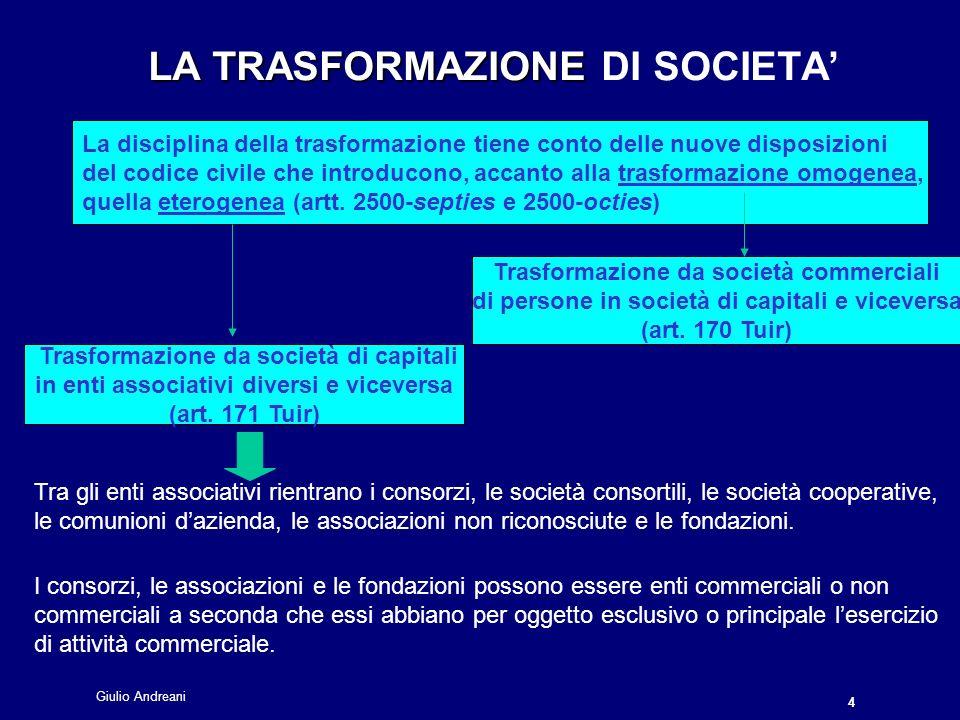 Giulio Andreani 4 LA TRASFORMAZIONE LA TRASFORMAZIONE DI SOCIETA La disciplina della trasformazione tiene conto delle nuove disposizioni del codice civile che introducono, accanto alla trasformazione omogenea, quella eterogenea (artt.