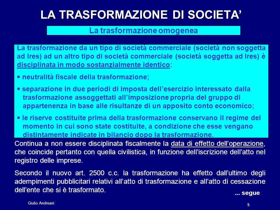 Giulio Andreani 16 LA FUSIONE DI SOCIETA LA FUSIONE DI SOCIETA La neutralità fiscale...