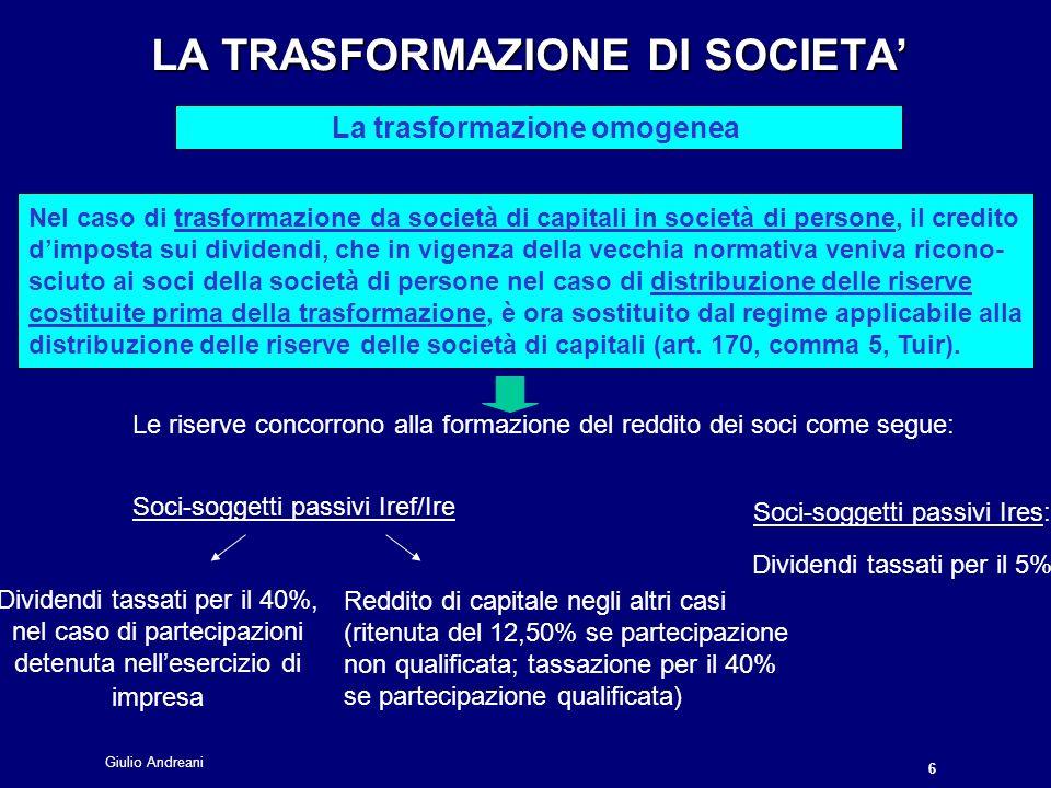 Giulio Andreani 7 LA TRASFORMAZIONE DI SOCIETA LA TRASFORMAZIONE DI SOCIETA La trasformazione eterogenea L Le situazioni considerate sono il passaggio da società di capitali in ente associativo (art.