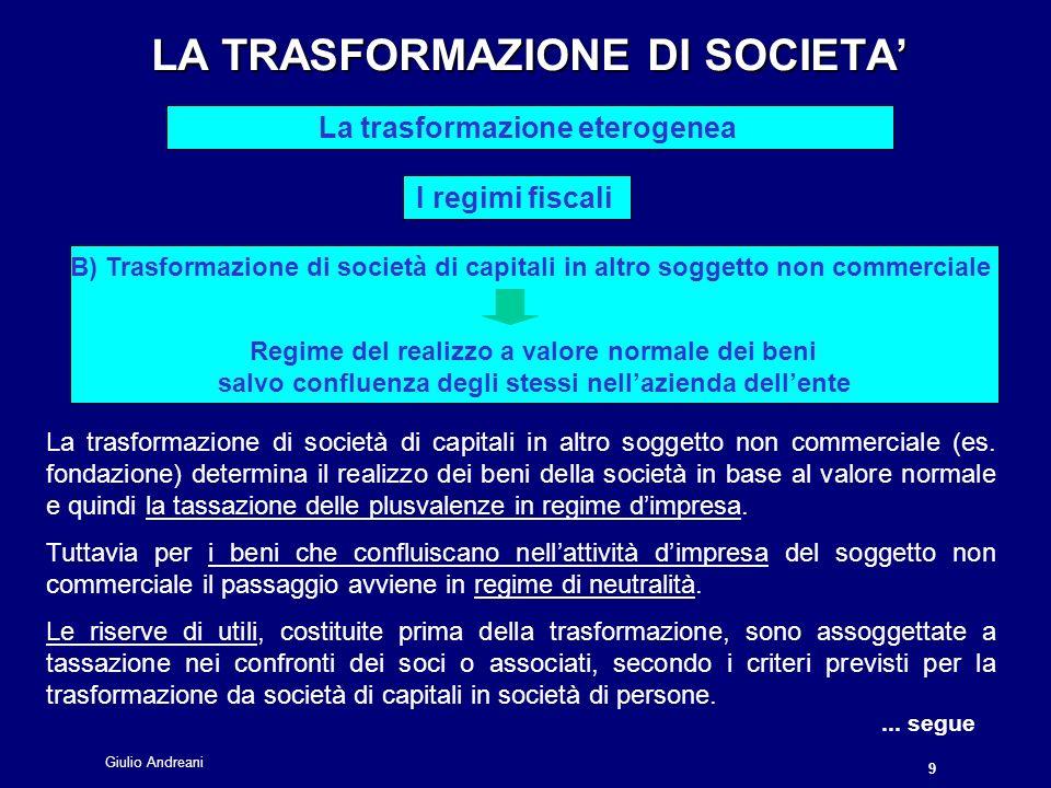 Giulio Andreani 9 LA TRASFORMAZIONE DI SOCIETA LA TRASFORMAZIONE DI SOCIETA La trasformazione eterogenea I regimi fiscali La trasformazione di società di capitali in altro soggetto non commerciale (es.