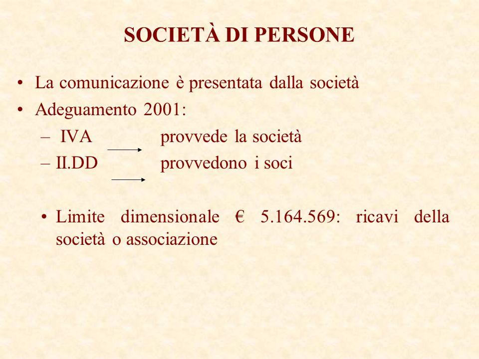 SOCIETÀ DI PERSONE La comunicazione è presentata dalla società Adeguamento 2001: – IVA provvede la società –II.DD provvedono i soci Limite dimensionale 5.164.569: ricavi della società o associazione