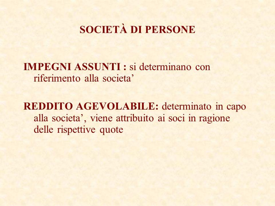 SOCIETÀ DI PERSONE IMPEGNI ASSUNTI : si determinano con riferimento alla societa REDDITO AGEVOLABILE: determinato in capo alla societa, viene attribuito ai soci in ragione delle rispettive quote