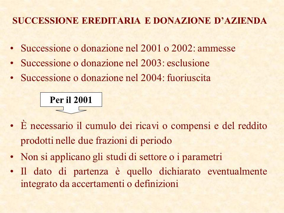 SUCCESSIONE EREDITARIA E DONAZIONE DAZIENDA Successione o donazione nel 2001 o 2002: ammesse Successione o donazione nel 2003: esclusione Successione o donazione nel 2004: fuoriuscita È necessario il cumulo dei ricavi o compensi e del reddito prodotti nelle due frazioni di periodo Non si applicano gli studi di settore o i parametri Il dato di partenza è quello dichiarato eventualmente integrato da accertamenti o definizioni Per il 2001