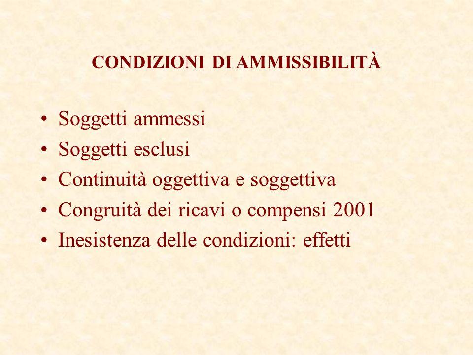 Soggetti ammessi Soggetti esclusi Continuità oggettiva e soggettiva Congruità dei ricavi o compensi 2001 Inesistenza delle condizioni: effetti CONDIZIONI DI AMMISSIBILITÀ