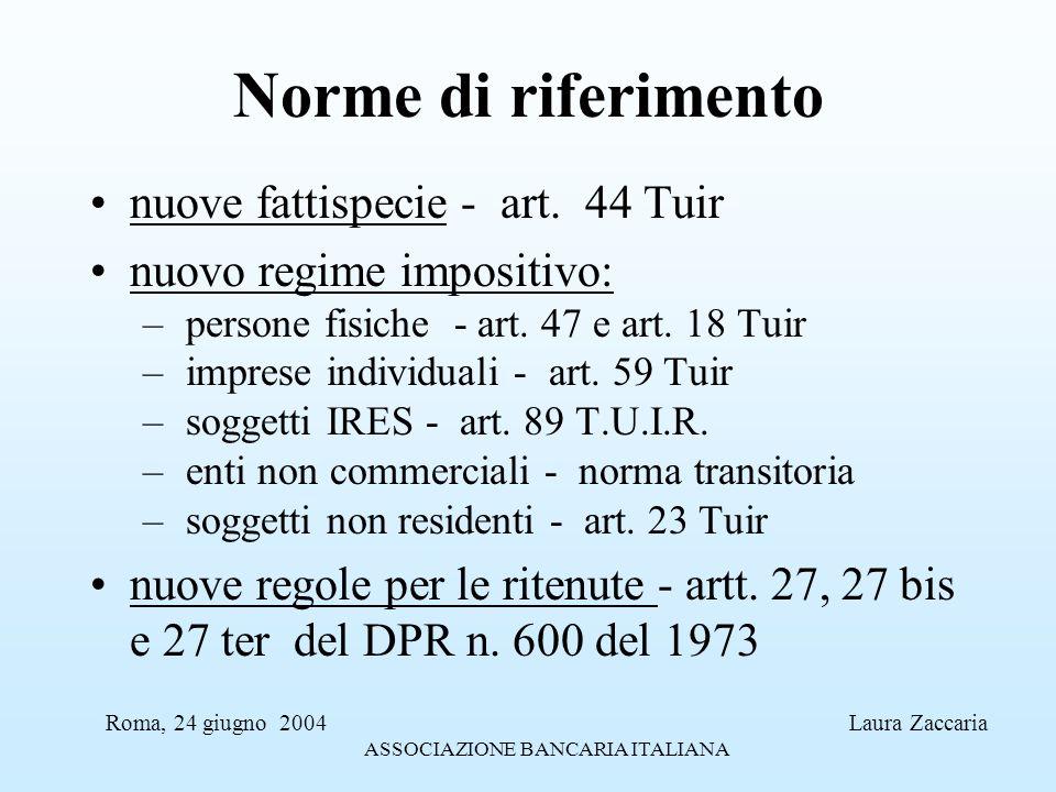 Norme di riferimento nuove fattispecie - art. 44 Tuir nuovo regime impositivo: – persone fisiche - art. 47 e art. 18 Tuir – imprese individuali - art.