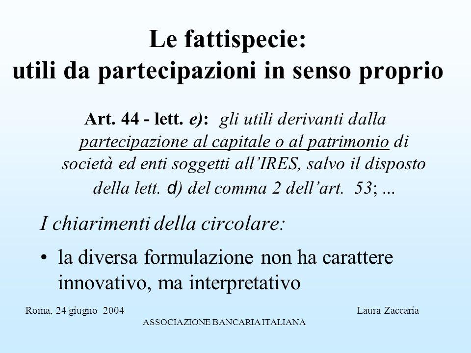 Le fattispecie: utili da partecipazioni in senso proprio Art. 44 - lett. e): gli utili derivanti dalla partecipazione al capitale o al patrimonio di s