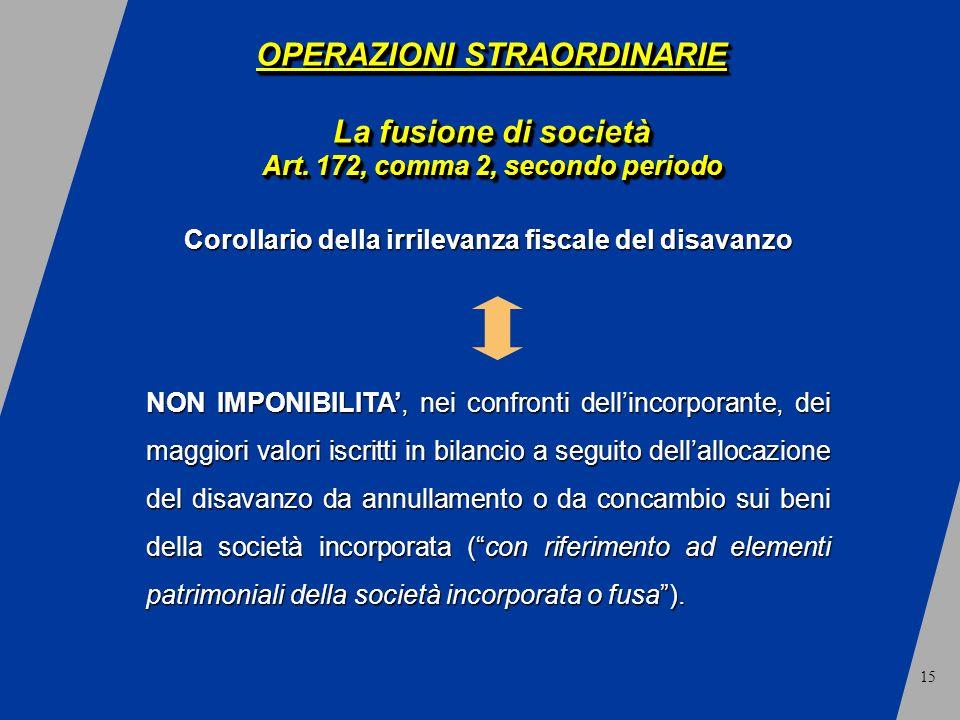 15 OPERAZIONI STRAORDINARIE La fusione di società Art.