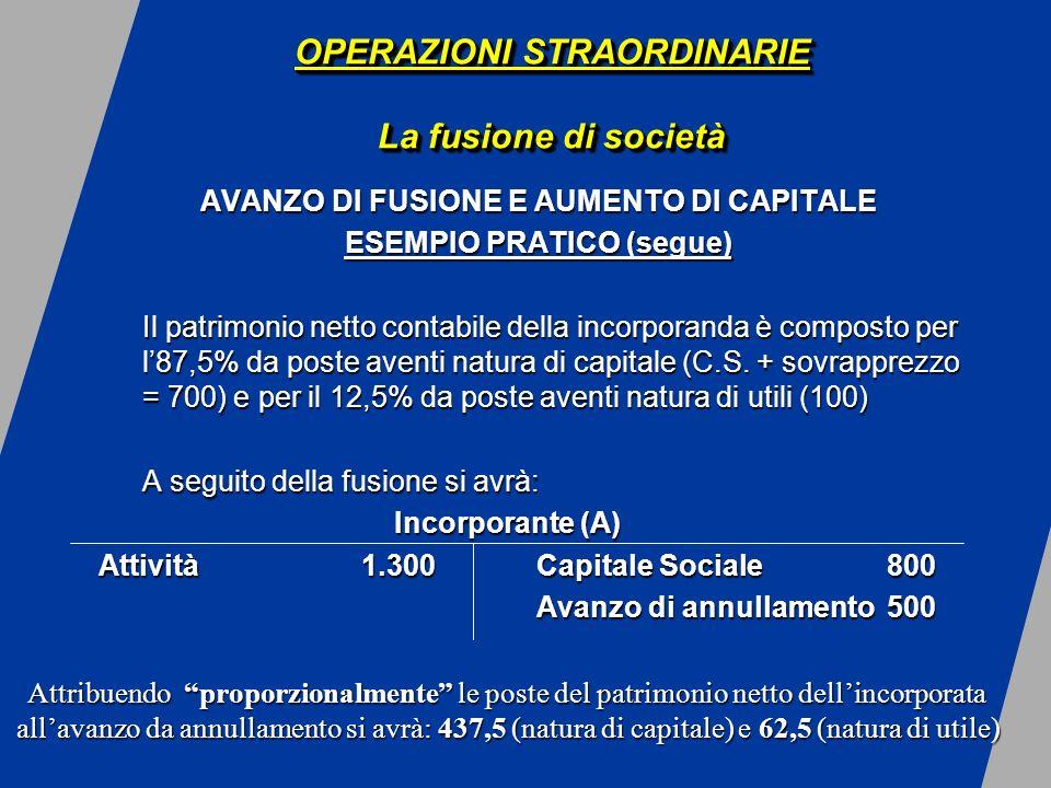 OPERAZIONI STRAORDINARIE La fusione di società AVANZO DI FUSIONE E AUMENTO DI CAPITALE ESEMPIO PRATICO (segue) Il patrimonio netto contabile della incorporanda è composto per l87,5% da poste aventi natura di capitale (C.S.