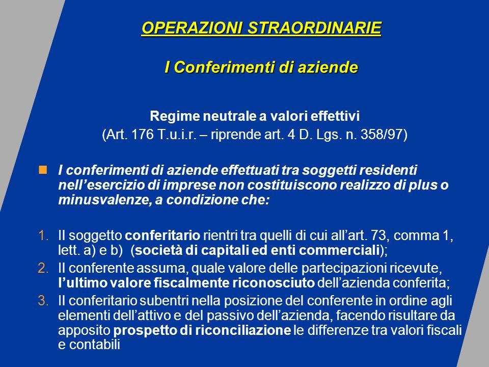 OPERAZIONI STRAORDINARIE I Conferimenti di aziende OPERAZIONI STRAORDINARIE I Conferimenti di aziende Regime neutrale a valori effettivi (Art.