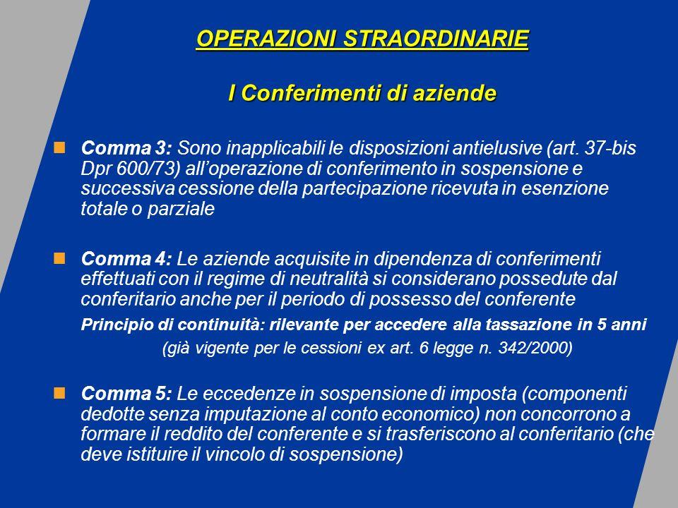 OPERAZIONI STRAORDINARIE I Conferimenti di aziende OPERAZIONI STRAORDINARIE I Conferimenti di aziende Comma 3: Sono inapplicabili le disposizioni antielusive (art.