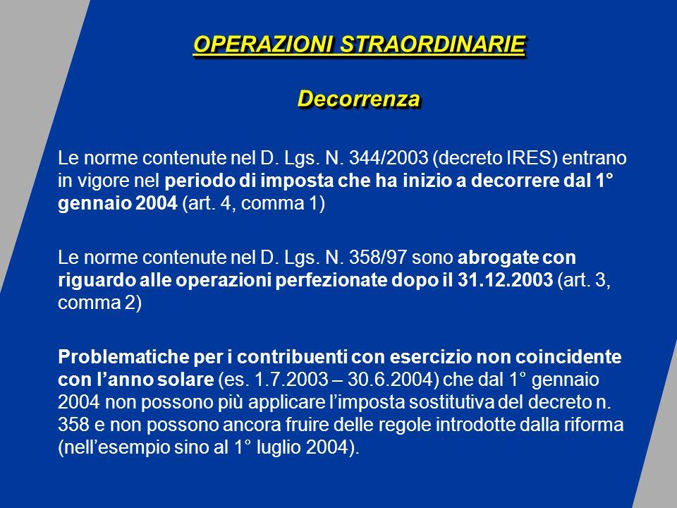 OPERAZIONI STRAORDINARIE I Conferimenti di aziende OPERAZIONI STRAORDINARIE I Conferimenti di aziende Regime a valori storici (art.