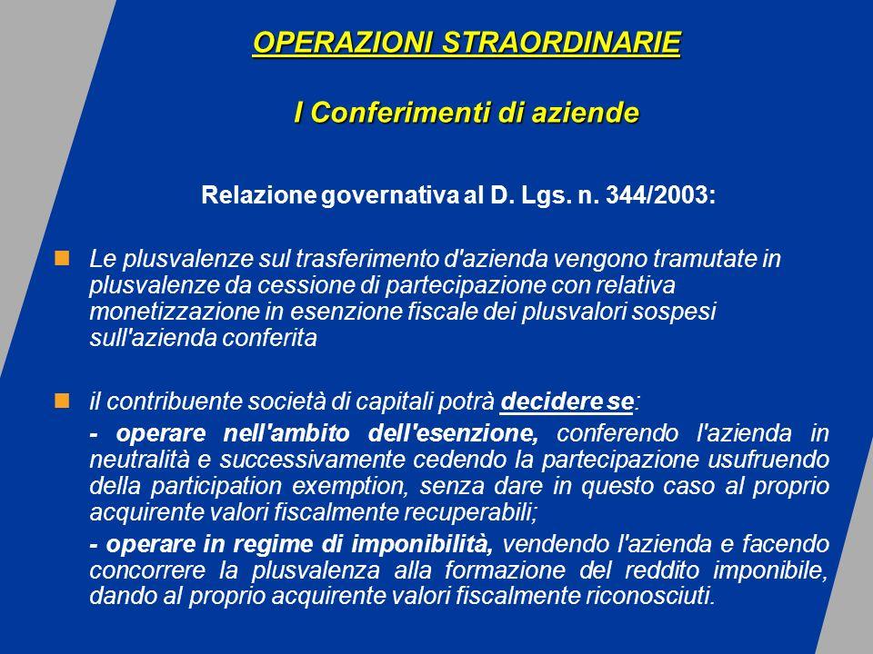 OPERAZIONI STRAORDINARIE I Conferimenti di aziende OPERAZIONI STRAORDINARIE I Conferimenti di aziende Relazione governativa al D.