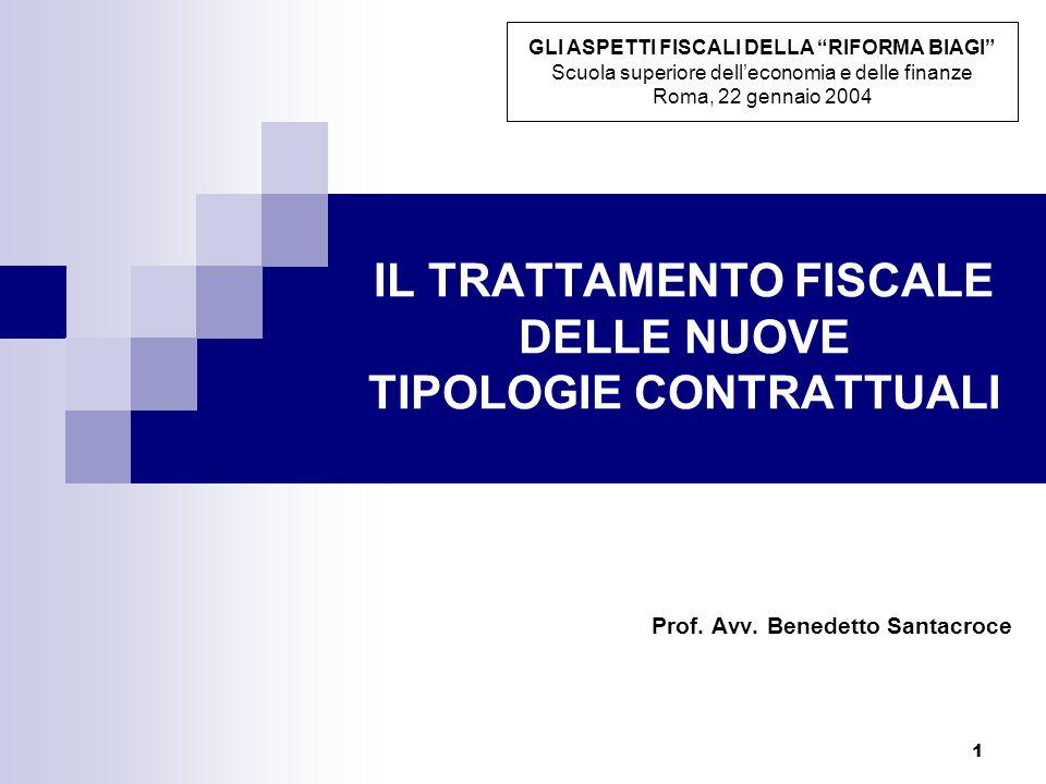 1 IL TRATTAMENTO FISCALE DELLE NUOVE TIPOLOGIE CONTRATTUALI Prof. Avv. Benedetto Santacroce GLI ASPETTI FISCALI DELLA RIFORMA BIAGI Scuola superiore d