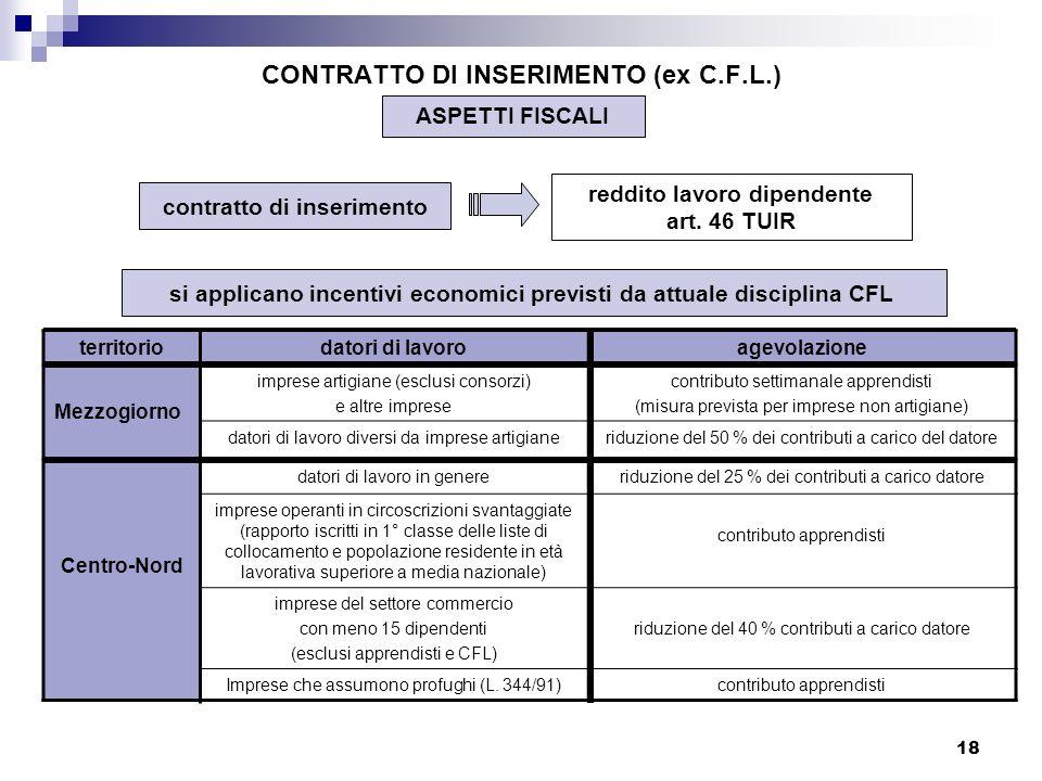 18 CONTRATTO DI INSERIMENTO (ex C.F.L.) ASPETTI FISCALI contratto di inserimento reddito lavoro dipendente art. 46 TUIR si applicano incentivi economi