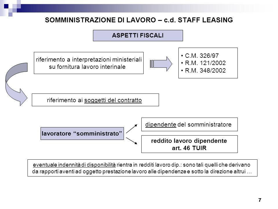 7 SOMMINISTRAZIONE DI LAVORO – c.d. STAFF LEASING ASPETTI FISCALI riferimento a interpretazioni ministeriali su fornitura lavoro interinale C.M. 326/9