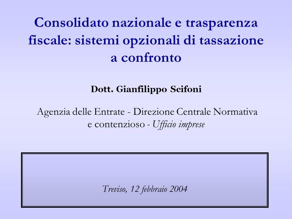 Consolidato nazionale e trasparenza fiscale: sistemi opzionali di tassazione a confronto Dott. Gianfilippo Scifoni Agenzia delle Entrate - Direzione C