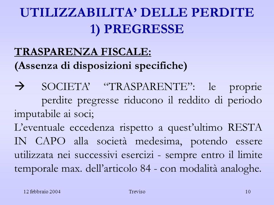 12 febbraio 2004Treviso10 UTILIZZABILITA DELLE PERDITE 1) PREGRESSE TRASPARENZA FISCALE: (Assenza di disposizioni specifiche) SOCIETA TRASPARENTE: le