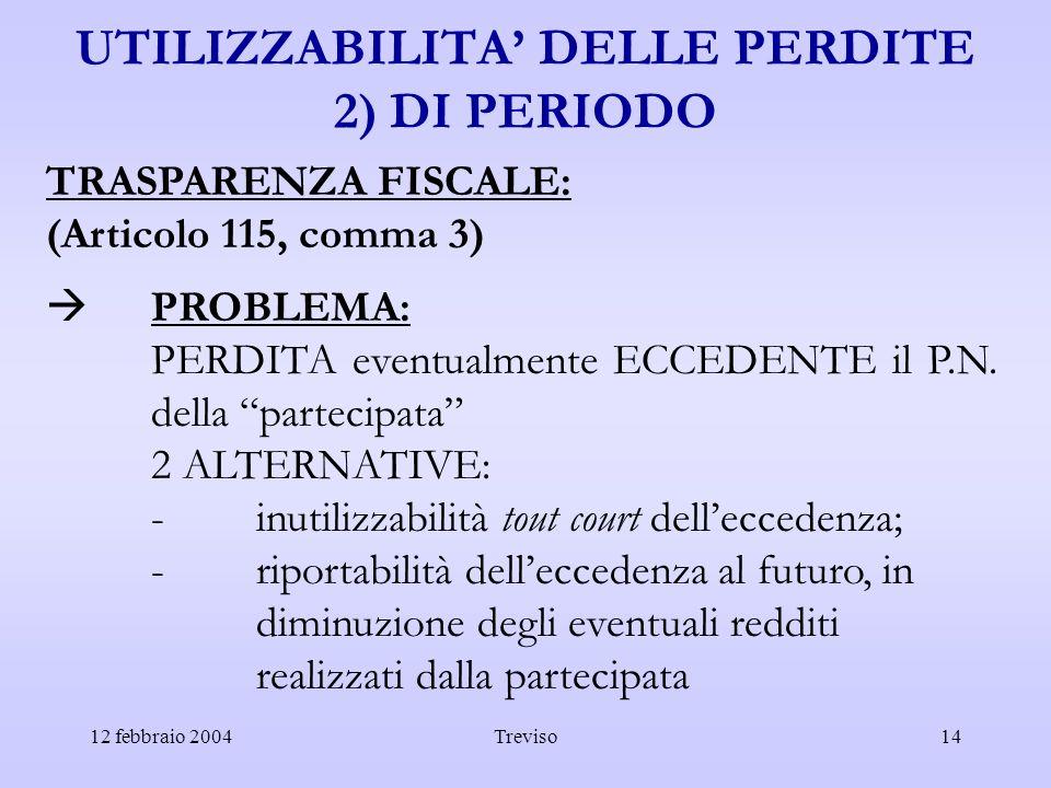 12 febbraio 2004Treviso14 UTILIZZABILITA DELLE PERDITE 2) DI PERIODO TRASPARENZA FISCALE: (Articolo 115, comma 3) PROBLEMA: PERDITA eventualmente ECCE