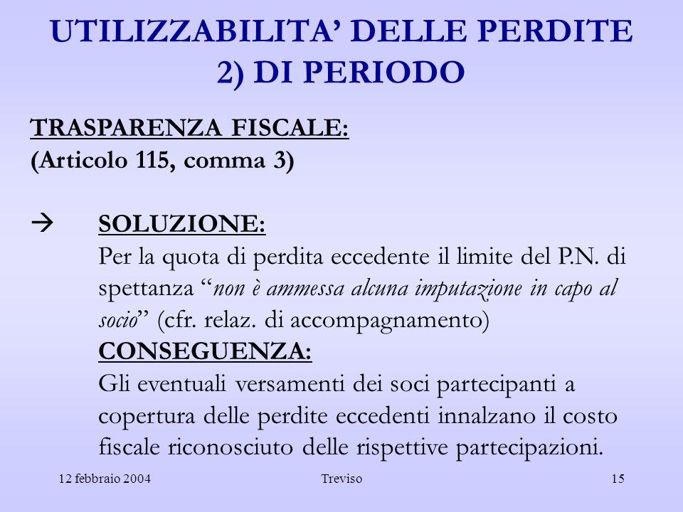 12 febbraio 2004Treviso15 UTILIZZABILITA DELLE PERDITE 2) DI PERIODO TRASPARENZA FISCALE: (Articolo 115, comma 3) SOLUZIONE: Per la quota di perdita e