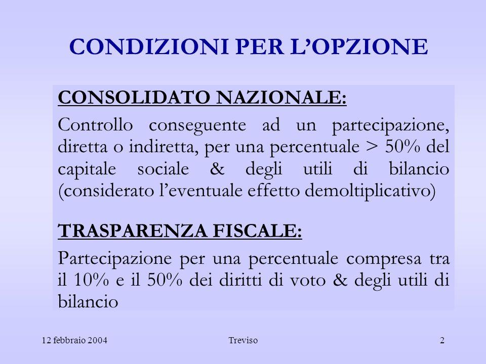 12 febbraio 2004Treviso2 CONDIZIONI PER LOPZIONE CONSOLIDATO NAZIONALE: Controllo conseguente ad un partecipazione, diretta o indiretta, per una perce