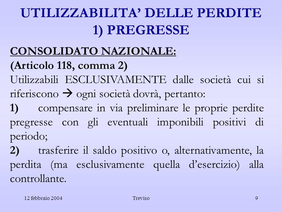 12 febbraio 2004Treviso9 UTILIZZABILITA DELLE PERDITE 1) PREGRESSE CONSOLIDATO NAZIONALE: (Articolo 118, comma 2) Utilizzabili ESCLUSIVAMENTE dalle so