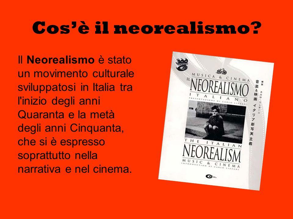 Cosè il neorealismo? Il Neorealismo è stato un movimento culturale sviluppatosi in Italia tra l'inizio degli anni Quaranta e la metà degli anni Cinqua