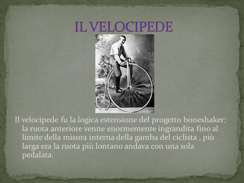 Il velocipede fu la logica estensione del progetto boneshaker: la ruota anteriore venne enormemente ingrandita fino al limite della misura interna del
