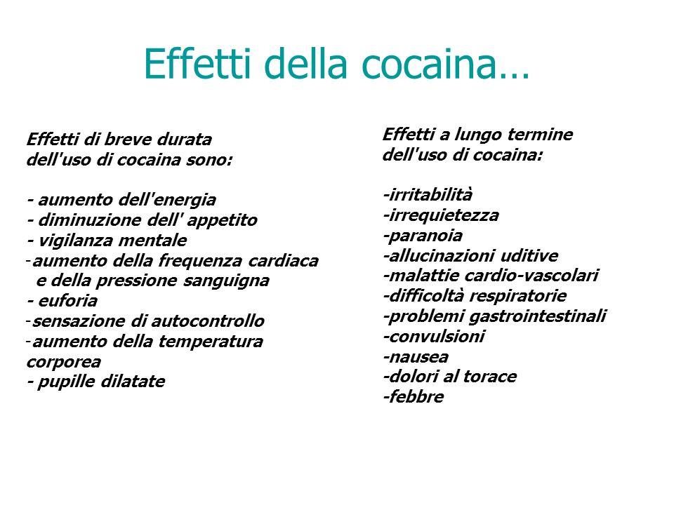 Effetti della cocaina… Effetti di breve durata dell uso di cocaina sono: - aumento dell energia - diminuzione dell appetito - vigilanza mentale -aumento della frequenza cardiaca e della pressione sanguigna - euforia -sensazione di autocontrollo -aumento della temperatura corporea - pupille dilatate Effetti a lungo termine dell uso di cocaina: -irritabilità -irrequietezza -paranoia -allucinazioni uditive -malattie cardio-vascolari -difficoltà respiratorie -problemi gastrointestinali -convulsioni -nausea -dolori al torace -febbre