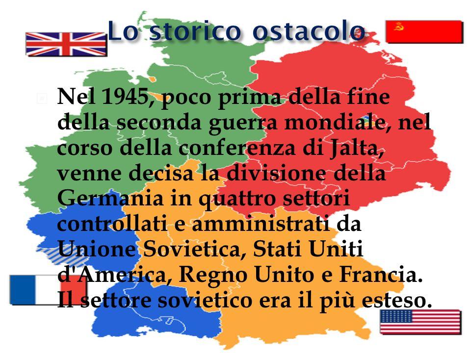 Nel 1945, poco prima della fine della seconda guerra mondiale, nel corso della conferenza di Jalta, venne decisa la divisione della Germania in quattr