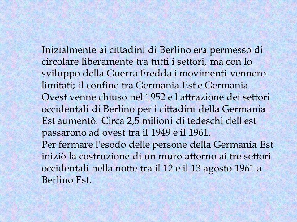 Inizialmente ai cittadini di Berlino era permesso di circolare liberamente tra tutti i settori, ma con lo sviluppo della Guerra Fredda i movimenti ven