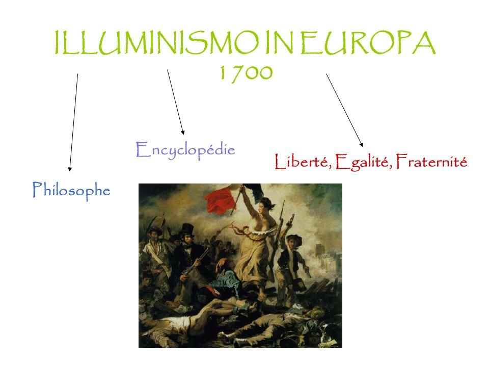 ILLUMINISMO IN EUROPA 1700 Liberté, Egalité, Fraternité Philosophe Encyclopédie